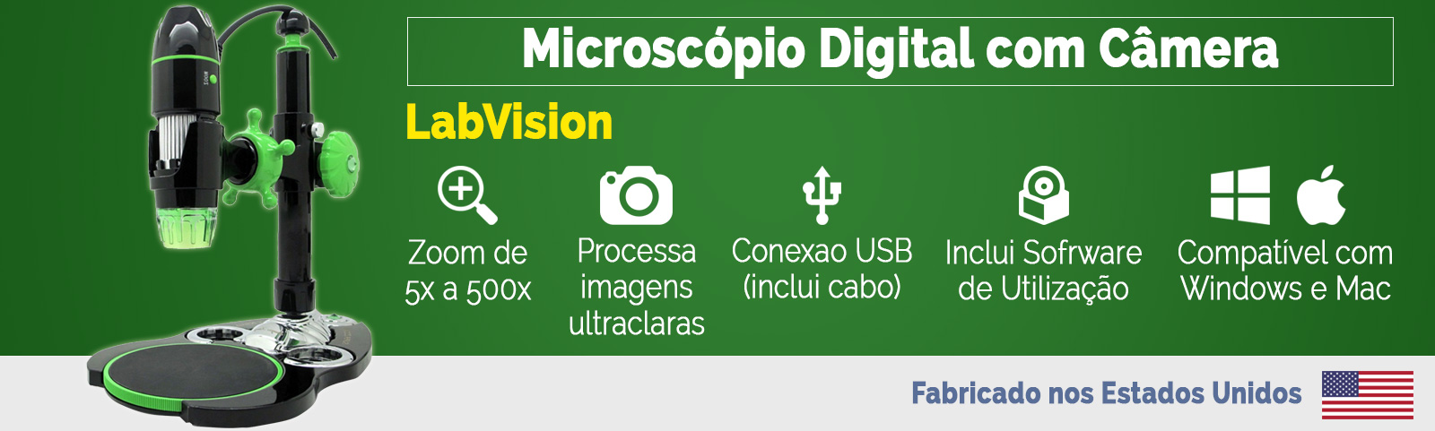 Microscópio Portatil Digital USB